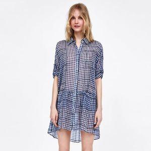 Zara | Sheer Checkered Dress